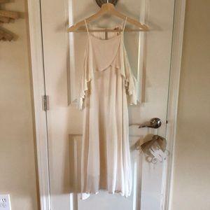 Cream cold shoulder dress